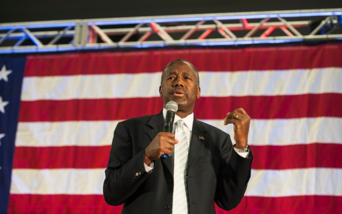 Republican presidential candidate Dr. Ben Carson speaks to the crowd during a campaign rally held at Spring Arbor University in Spring Arbor, Michigan,Wednesday, Sept. 23, 2015. (Jessica Christian/Jackson Citizen Patriot via AP)