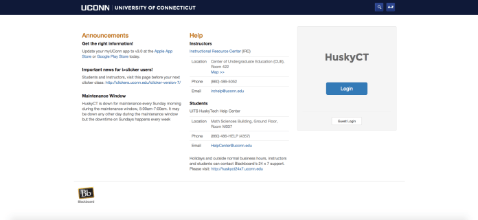 In this photo, a screenshot of the HuskyCT homepage is pictured.Students at UConn campuses across the state panicked Wednesday as HuskyCT crashed twice for a total of more than two hours, according to university officials. (Screenshot/The Daily Campus)