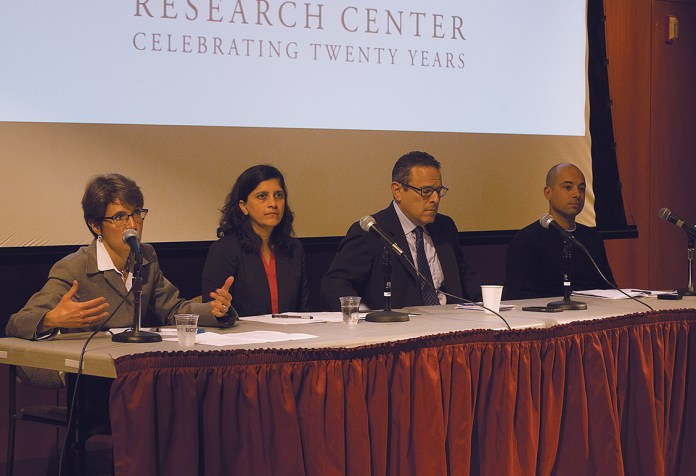 """Members of the Thomas J. Dodd Center's """"The University as Corporate Citizen"""" event answer questions on Thursday, Sept. 24, 2015. Worker Rights Consortium Executive Director Scott Nova is second from the right.(Rebecca Newman/The Daily Campus)"""