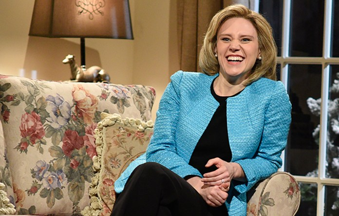 """Kate McKinnon, actress on NBS's """"Saturday Night Live,"""" plays Hillary Clinton for the show's political skits. She was recently up for an Emmy for """"Outstanding Supporting Actress in a Comedy Series"""" for her Clinton impersonations (Courtesy/NBC)."""