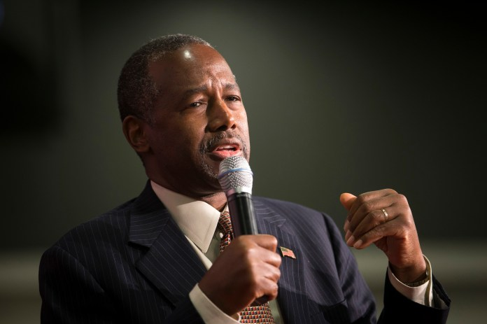 Republican presidential candidate Ben Carson speaks during a campaign rally at the Sharonville Convention Center, Tuesday, Sept. 22, 2015, in Cincinnati. (John Minchillo/AP)
