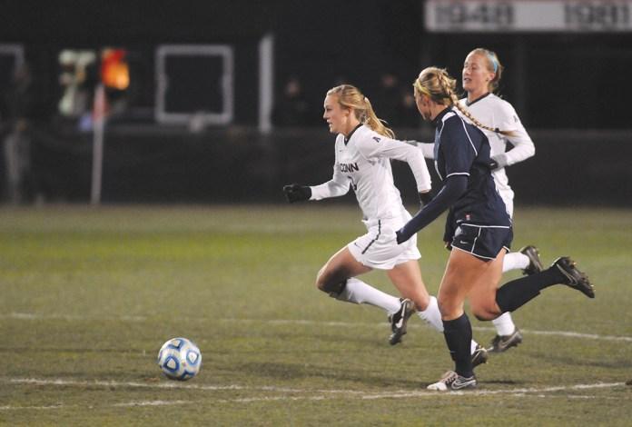 UConn women's soccer forward Rachel Hill runs upfield during the Huskies' game against New Hampshire at Joseph J. Morrone Stadium on Nov. 15, 2014. (File Photo/The Daily Campus)