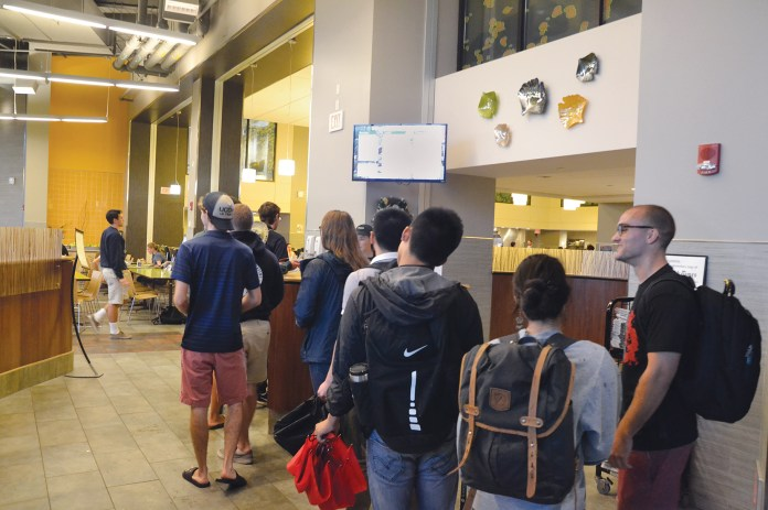 Students stand in line at UConn's McMahon Dining Hall on Thursday, Sept. 10, 2015. (Amar Batra/The Daily Campus)