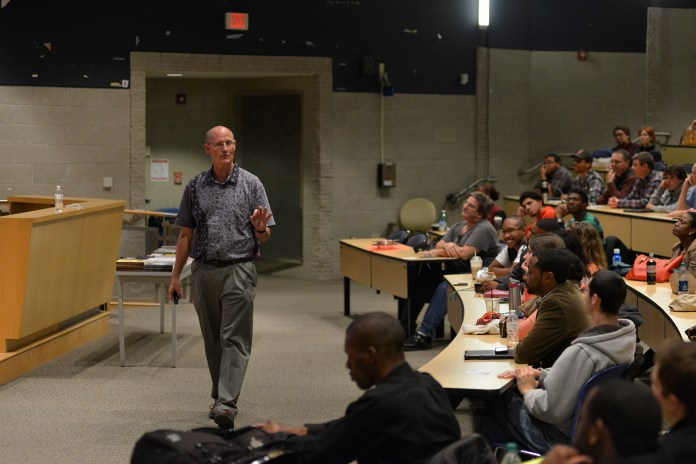Dr. John Oaks, president of the Apologetics Research Society, speaks during his lecture at UConn's Information Technologies Engineering building in Storrs, Connecticut on Friday, Oct. 16, 2015. (Jason Jiang/The Daily Campus)