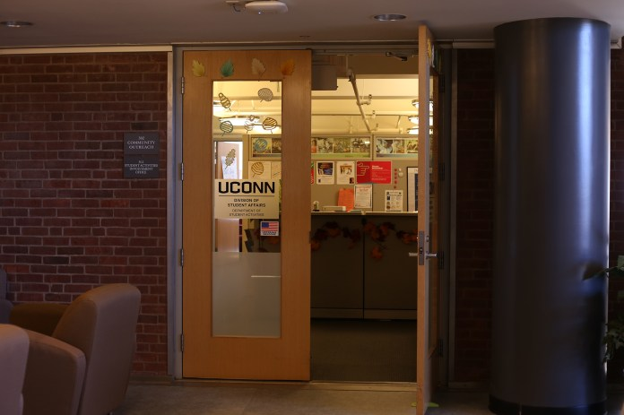 In this photo, the exterior of the UConn Division of Student Affairs office is seen in the Student Union. (Jackson Haigis/The Daily Campus)