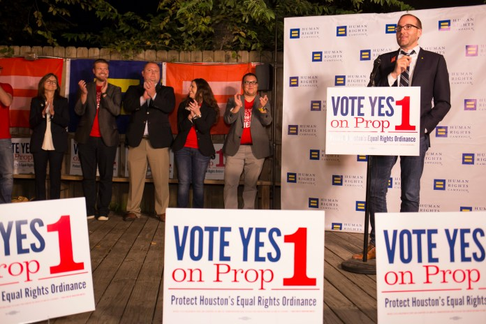 Human Rights Campaign President Chad Griffin speaks to staff and volunteers in Houston Wednesday Oct. 28, 2015, who are working to get out the vote for Prop 1 –Houston's Equal Rights Ordinance. (Michael Stravato/AP Images for Human Rights Campaign)