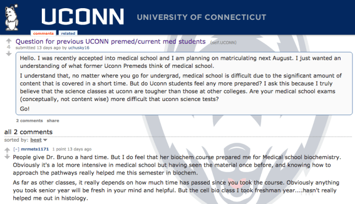 One of the mentions of Dr. Mary Bruno's Biochemistry 2000 class on Reddit. The professor has a challenging reputation but is renowned for preparing her students for medical school. (Screenshot)