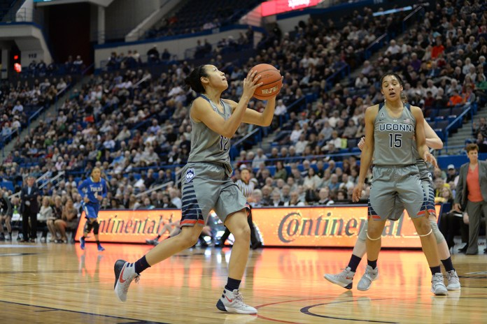 UConn women's basketball guard Saniya Chong goes up for a layup during the Huskies' game against Tulsa in Hartford, Connecticut on Wednesday, Jan. 6, 2016. (Ashley Maher/The Daily Campus)