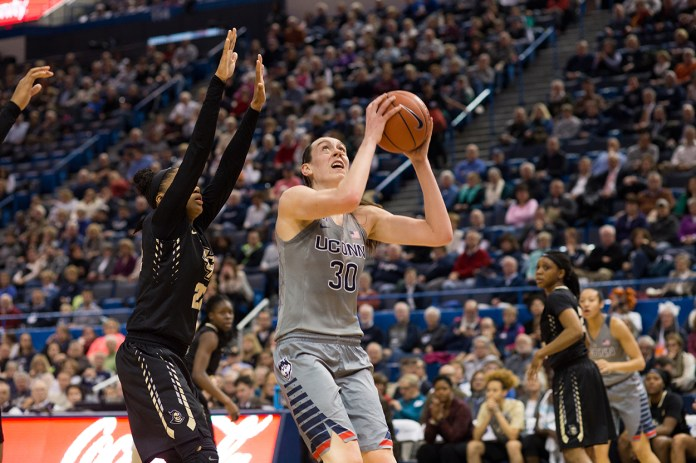 Breanna Stewart goes up for a shot during UConn's 106-51 victory over UCF at the XL Center on Jan. 20, 2016. The senior scored a game high 21 points. (Jackson Haigis/The Daily Campus)
