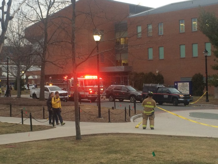 A UConn Fire Department fire engine is seen along with Facilities Operations & Building Services vehicles outside the UConn Student Union responding to electrical issues near Laurel Hall on Thursday, Feb. 4, 2016. (Ashley Maher/The Daily Campus)