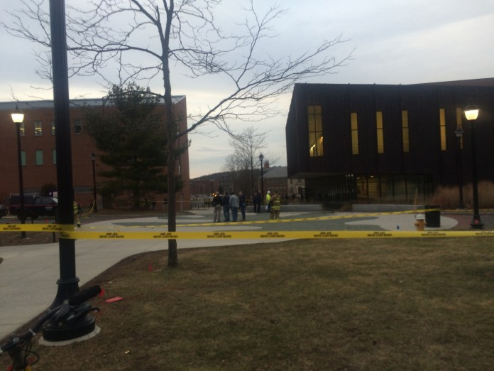 UConn Fire Department and Facilities Operations & Building Services staff respond to electrical issues near Laurel Hall on Thursday, Feb. 4, 2016. (Ashley Maher/The Daily Campus)