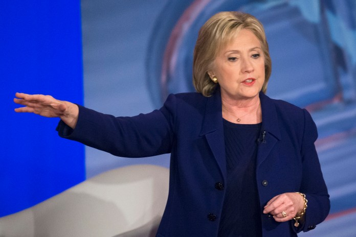 In this Feb. 3, 2016 file photo, Democratic presidential candidate Hillary Clinton speaks in Derry, N.H. The State Department watchdog has found that former Secretary of State Colin Powell and the immediate staff of former Secretary of State Condoleezza Rice also received classified national security information on their personal email accounts, Rep. Elijah Cummings, D-Md. said Thursday, Feb. 4, 2016. (John Minchillo, File/AP)