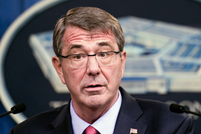 Defense Secretary Ash Carter speaks during a news conference at the Pentagon, Thursday, Jan. 28, 2016, where he announced the latest in his Force of the Future reforms. Carter intends to double the length of fully paid maternity leave for female service members, and will also boost time off for paternity leave and adoptions (AP Photo/Cliff Owen)