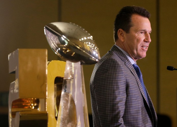 Denver Broncos head coach Gary Kubiak speaks at a news conference in San Francisco, Monday, Feb. 8, 2016. The Broncos beat the Carolina Panthers 24-10 in Super Bowl 50. (AP Photo/Jeff Chiu)