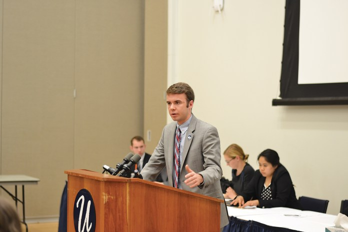 In this file photo,Undergraduate Student Government Vice President Adam Kuegler speaks during a senate meeting at the UConn Student Union on April 29, 2015. Kuegler will run for the student seat on the UConn Board of Trustees, which will be vacant starting next semester.(Amar Batra/The Daily Campus)