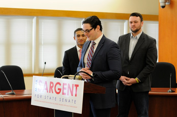 Mark Sargent announced his candidacy for State Senate at the Audrey P. Beck Municipal Building on Feb. 13, 2016. (Amar Batra/The Daily Campus)