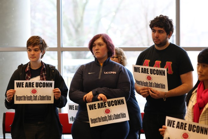 UConn students attend the AAUP rally on Feb. 24 in the Student Union to show support for faculty.(Jackson Haigis/The Daily Campus)
