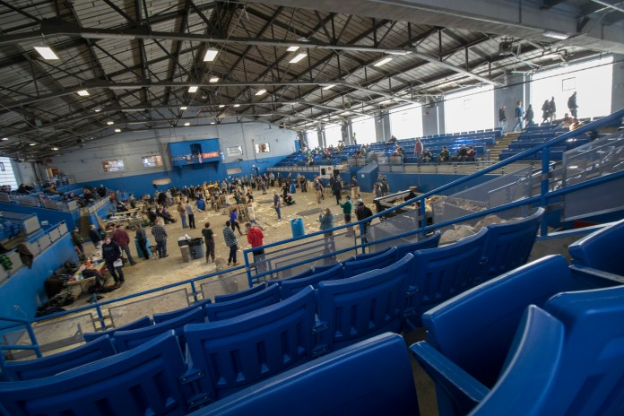 The view from the stands during the 5th Annual Jack and Jill Meet at the Ratcliffe Hicks Arena in Storrs, Connecticut on Saturday, Feb. 27, 2016. (Jackson Mitchell/The Daily Campus)