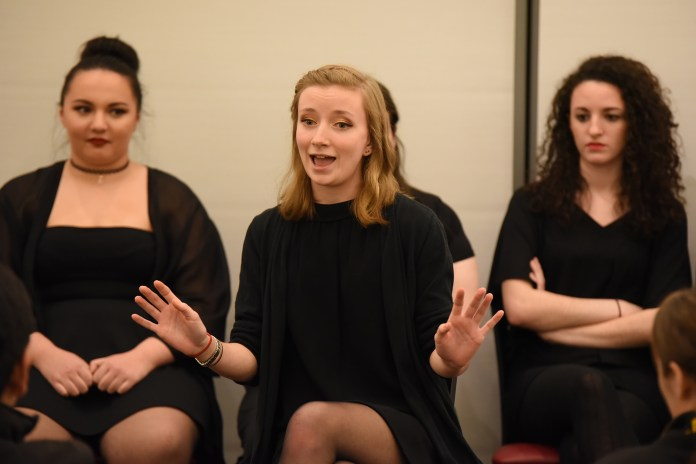 """Page to State Productions held one of three performances of """"The Vagina Monologues"""" in the UConn Student Union in Storrs, Connecticut on Saturday, Feb. 27, 2016. (Allen Lang/The Daily Campus)"""