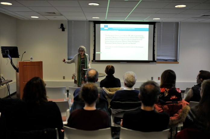 """University of Michigan professor Karla Mallette speaks during her lecture """"Lives of the Great Languages: Cosmopolitan Language Systems in the Medieval Mediterranean""""at the Phillip E. Austin Building on Monday, Feb. 29, 2016. (Jason Jiang/The Daily Campus)"""