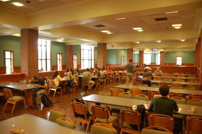 Spring break meal plans are free to students with meal plans who stay on campus but only Northwest Dining Hall, pictured above, will be operating, and only at certain times of the day. Students must sign up for meals (breakfast, lunch, dinner) for every day they will need them, and can only swipe in once for each meal time they sign up for.(Carly Zaleski/Daily Campus)