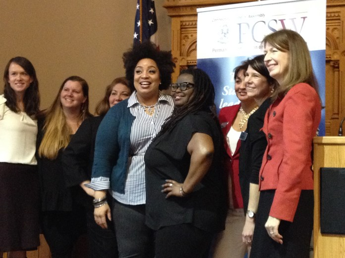 """Monica Raye Simpson, executive director of SisterSong, and Reia Chapman, its North Carolina Organizer, gave the keynote speech, """"Intersectional Feminism 101,"""" at Women's Day in the Capitol on March 9, 2016. (Kimberly Armstrong/The Daily Campus)"""