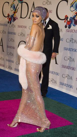 Rihanna's fishnet Adam Selman gown and accompanying accessories at the 2014 CFDA Awards. (Charles Sykes/Invision/AP)