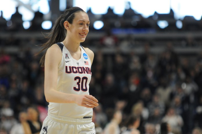 UConn women's basketball forward Breanna Stewart smiles during the Huskies' NCAA tournament game against No. 5 Mississippi State at Webster Bank Arena in Bridgeport, Connecticut on Saturday, March 26, 2016. Stewart led the Huskies with 22 points and 14 rebounds. (Bailey Wright/The Daily Campus)