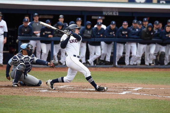 UConn baseball defeated Colombia in a 4-3 win at J.O. Christian Field in Storrs, Connecticut on Saturday, March 26, 2016. (Zhelun Lang/The Daily Campus)