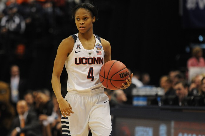 Moriah Jefferson looks on to direct the offense during UConn's 80-51 victory over Oregon State in the national semifinal at Lucas Oil Stadium in Indianapolis, Ind. on Sunday April 6, 2016. Jefferson finished with 10 points and seven assists. (Bailey Wright/The Daily Campus)