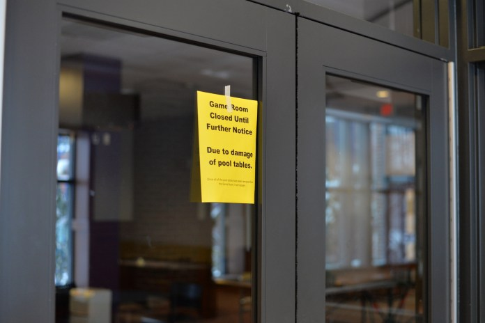 Pool tables at the South Campus Game Room in Rome Commons have been closed due to damaged pool tables. The game room will be open later in the week. (Amar Batra/The Daily Campus)