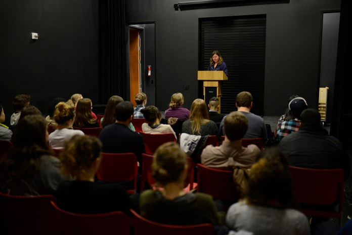 Author Ginger Strand speaks during the Aetna Celebration of Creative Non-Fiction held in the UConn Co-op Bookstore in Storrs Center in Storrs, Connecticut on Thursday, April 7, 2016. (Jason Jiang/The Daily Campus)