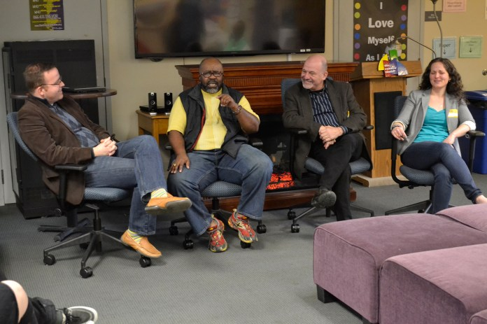 """A group of panelists speak during the Rainbow Center event """"Pride from the Past,"""" hosted in the UConn Student Union in Storrs, Connecticut on Saturday, April 9, 2016. (Olivia Stenger/The Daily Campus)"""