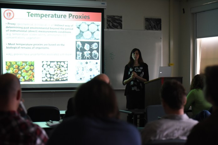 """Dr. Castaneda, the assistant professor of geosciences at the University of Massachusetts, is giving a talk entitled """"Vegetation and climate change in southern East Africa During the past 800,000 years."""" (Zhelun Lang/The Daily Campus)"""