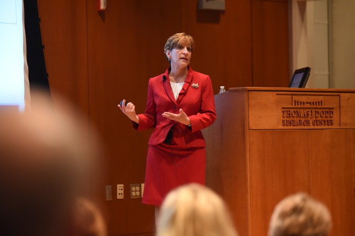 """Executive Director of Student Health Services candidate Suzanne Onorato conducted a presentation about her """"vision of an integrated and holistic model of health"""" at the University of Connecticut on Tuesday morning. (Zhelun Lang/Daily Campus)"""