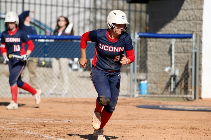 Lexi Gifford runs to first base during UConn's 6-0 win over CCSU at the Burrill Family Field on Wednesday April 13, 2016.