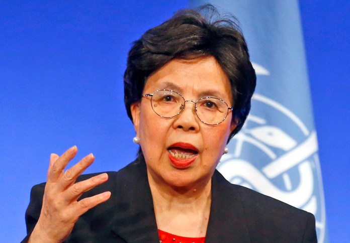 World Health Organization Director-General Margaret Chan delivers a speech on Wednesday, March 23, 2016,in Lyon, France. Chan said Wednesday April 6, 2016, that excessive weight, aging and population growth have recently driven a huge increase in worldwide cases of diabetes and called for stepped-up measures to reduce risk factors as well as improve treatment and care. (AP Photo/Francois Mori)
