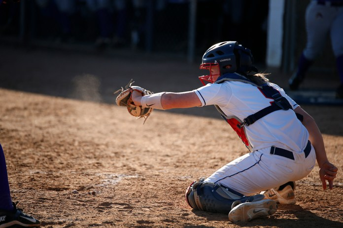 Jacklyn Dubois receives a pitch during UConn's 2-0 loss to East Carolina at the Burrill Family Field on Friday April 15, 2016. (Tyler Benton/The Daily Campus)
