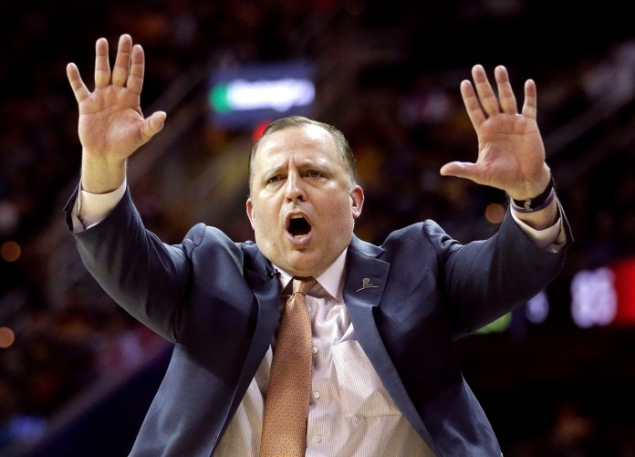 In this April 5, 2015, file photo, Chicago Bulls head coach Tom Thibodeau directs his players during the fourth quarter of an NBA basketball game against the Cleveland Cavaliers in Cleveland. A person with knowledge of the situation tells The Associated Press Wednesday, April 20, 2016, that the Minnesota Timberwolves have opened negotiations with the former Bulls coach to be the team's new coach and president of basketball operations. (AP Photo/Tony Dejak, File)