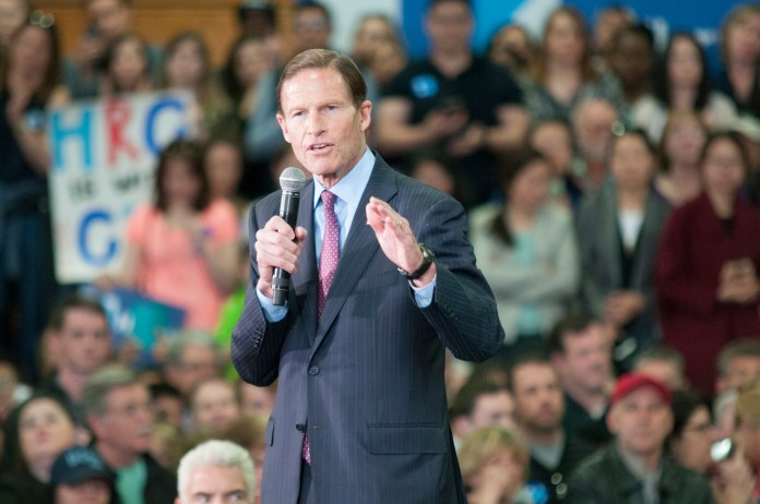 Connecticut Sen. Richard Blumenthal tells the crowd at the University of Bridgeport on Sunday, April 24, 2016.he has known Democratic presidential candidate Hillary Clinton since they attended Yale Law School together 40 years ago. (Kyle Constable/The Daily Campus)