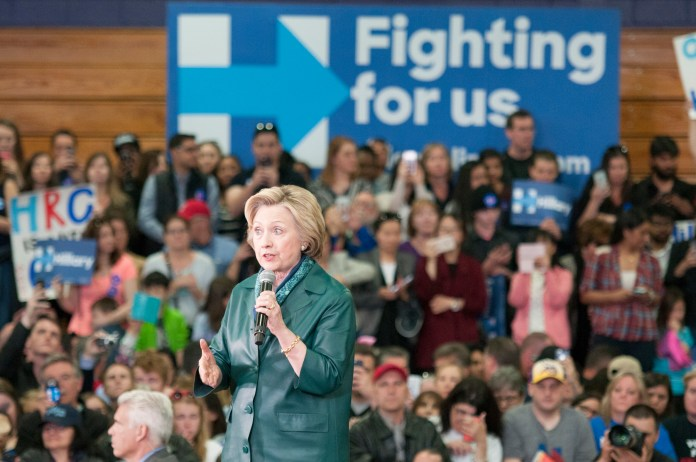 Democratic presidential candidate Hillary Clinton spoke at length about the dangers of gun violence and the need for more federal gun control during a campaign rally at the University of Bridgeport on Sunday, April 24, 2016. (Kyle Constable/The Daily Campus)