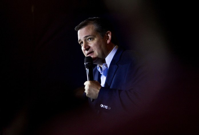 Republican presidential candidate Ted Cruz speaks during a campaign rally at Huber's Orchard and Winery, Monday, April 25, 2016 in Starlight, Ind. (Christopher Fryer/News and Tribune via AP)