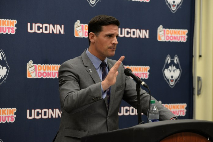 UConn football head coach Bob Diaco addresses the media on Sunday, Feb. 3, 2016. Diaco was a key piece in UConn's 6-7 season, which included an upset victory over the undefeated Houston Cougars on Saturday, Nov. 21, 2015 and a trip to Tropicana Field in St. Petersburg, Florida for the St. Petersburg Bowl- the team's first bowl appearance since 2010. (Amar Batra/The Daily Campus)