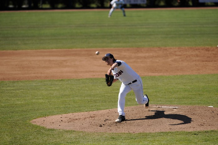Junior pitcher Anthony Kay delivers a pitch during UConn's 3-2 victory over Houston on April 15, 2016 at J.O. Christian Field. Kay is projected to be a first round pick in the 2016 MLB Draft. (Jason Jiang/The Daily Campus)