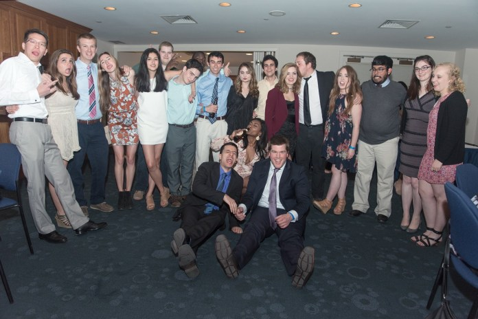 Zabierek and Daily Campus colleagues are seen at the newspaper's annual banquet on April 30, 2016. (Photo courtesy of Matthew Zabierek)