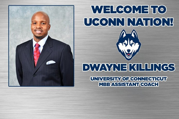 UConn basketball announced Wednesday that Dwayne Killings will join the staff. (Photo courtesy  @UConnMBB )