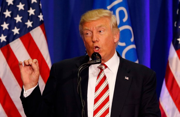 In this Tuesday, Aug. 16, 2016 file photo, Republican presidential candidate Donald Trump speaks at a campaign rally in West Bend, Wis. Trump is overhauling his campaign again, bringing in Breitbart News'Stephen Bannon as campaign CEO and promoting pollster Kellyanne Conway to campaign manager. (Gerald Herbert/AP)