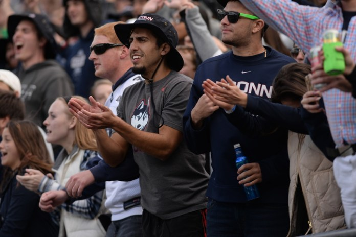 Fans watch during UConn's 28-20 loss to USF at Pratt & Whitney Stadium at Rentschler Field on Oct. 17, 2015.(File Photo/The Daily Campus)