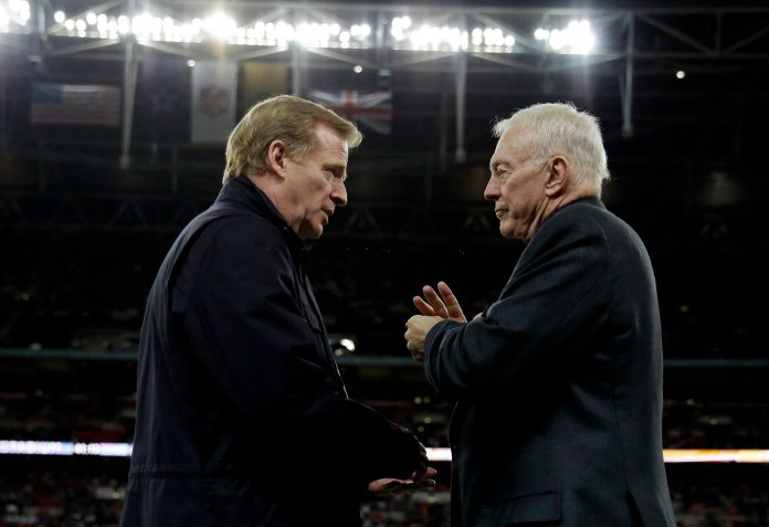 In this Nov. 9, 2014, file photo, NFL commissioner  Roger  Goodell , left, and Dallas Cowboys owner Jerry Jones talk during an NFL football game between the Jacksonville Jaguars and Dallas Cowboys at Wembley Stadium in London.  (Matt Dunham/AP)
