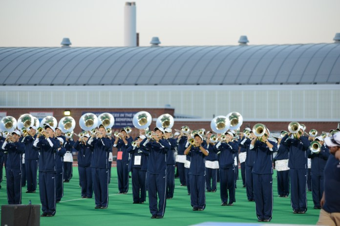 The UConn March Band performs during last year's marching band preview show on Sept. 6, 2015. (Jason Jiang/The Daily Campus)
